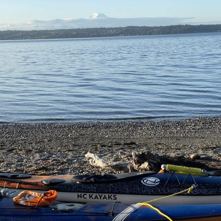 The Mountain over our kayaks at Maury Island Marine Park