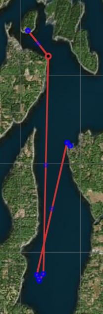 Map of Boston Harbor Marina to Oly Shoal to Hope Island