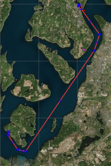 Map from Anderson Island to Gig Harbor